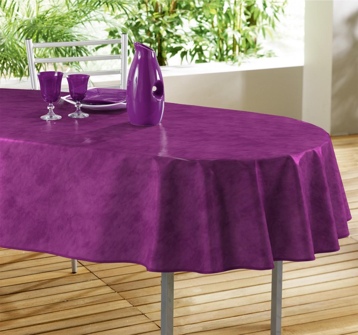 nappe toile ciree ovale beton cir aubergine. Black Bedroom Furniture Sets. Home Design Ideas