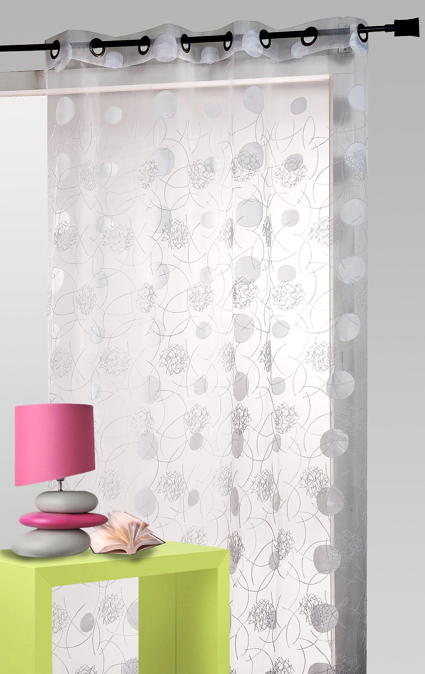 voilage luna organza rond blanc. Black Bedroom Furniture Sets. Home Design Ideas