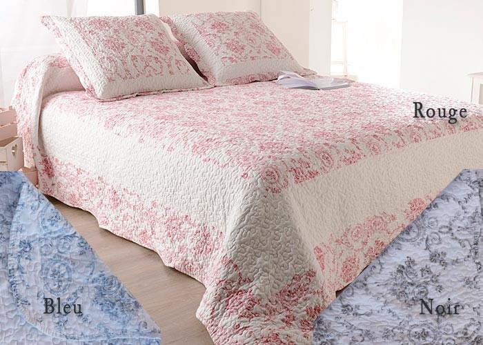 Couvre lit toile de jouy bleu - Jete de lit bleu ...