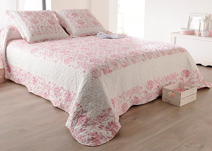 couvre lit toile de jouy bleu. Black Bedroom Furniture Sets. Home Design Ideas