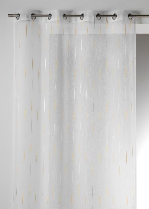Voilage étamine jacquard fils coupés blanc-argent