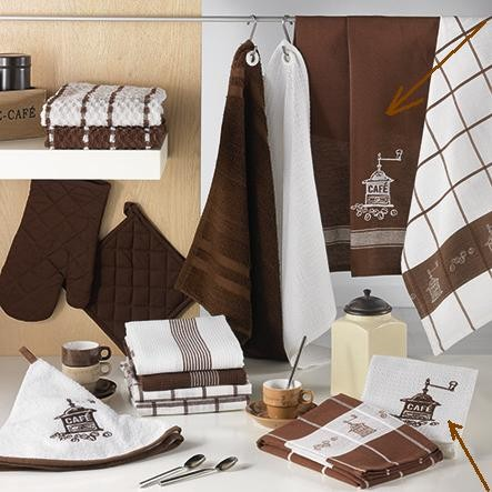 Lot de 2 torchons 8713 Brode Moulin a cafe Choco