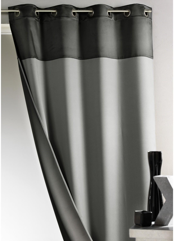 Rideau Bicolore Occultant Gris et Noir