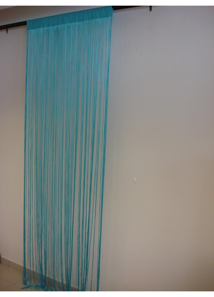 Rideau fils turquoise for Rideau turquoise