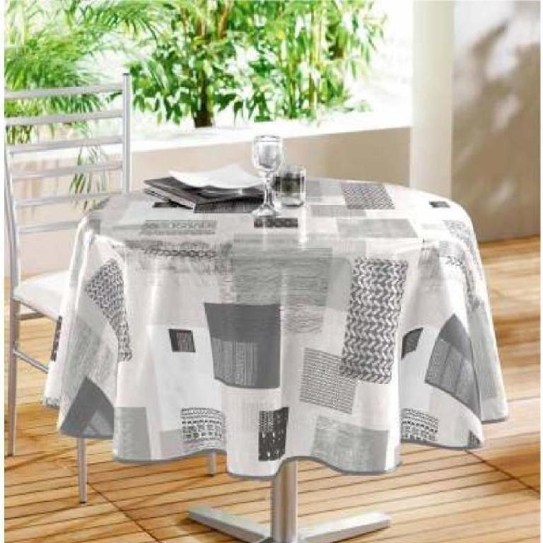 nappe toile cir e ronde carrea gris. Black Bedroom Furniture Sets. Home Design Ideas