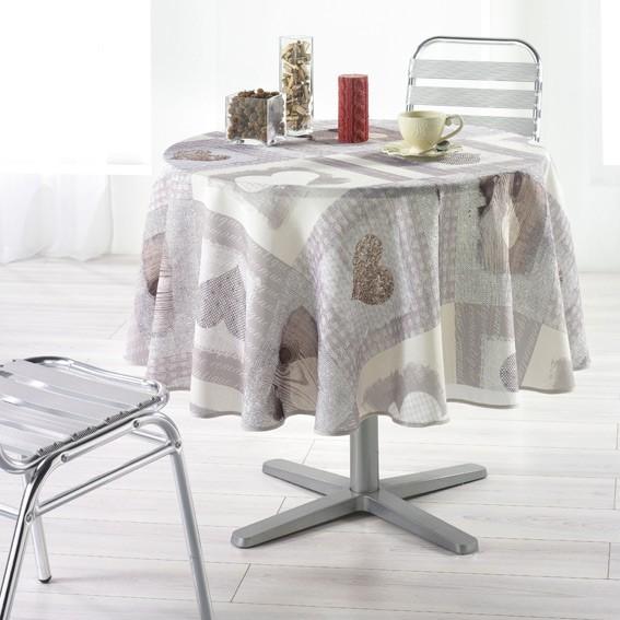 nappe toile cir e ronde cosy coeur. Black Bedroom Furniture Sets. Home Design Ideas