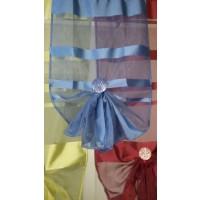 Unité droite Organza Raye Bleu 150 cm
