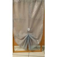 Paire en étamine droite gris perle  impression cercle argent 120cm