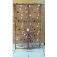 Paire de vitrage en organza à motifs brodés Bordeaux 130cm