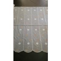Brise Bise Blanc Brodée Ronds Taupe H:120 cm