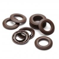 Oeillets marron clipsables plastique au detail Ø 40 mm