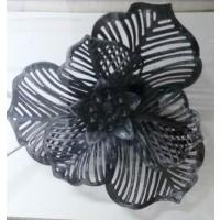 Embrasse Metallise aimantee fleur Ajourée Noir Argent