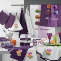 Lot de 2 torchons Macarons 8801 Prune