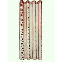 "Voilage organza ronds bordeaux ""lot de 2"""