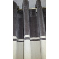 Rideau Ywama en coton parement velours Gris