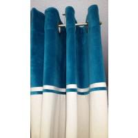 Rideau Ywama en coton parement velours bleu canard