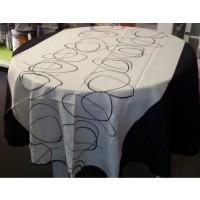 Nappe Ronde Abstrait Noir Blanc