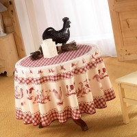 Nappe Ronde Basse cour rouge