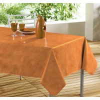 Nappe Toile Cirée Rectangle uni Beton Ciré Mandarine
