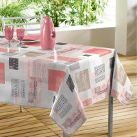 Nappe Toile Cirée Rectangle Carrea Corail
