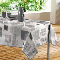 Nappe Toile Cirée Rectangle Carrea Gris