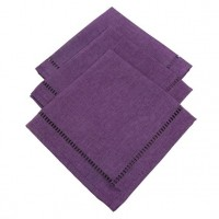 Lot de 3 serviettes Chambray Elegance Prune