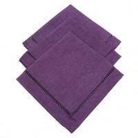 Lot de 3 serviettes Chambray Elegance Prune