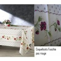 Nappe ovale Coquelicots Beige Fuschia