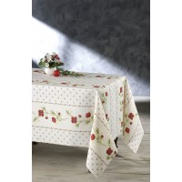 Nappe Ovale Coquelicots Beige Rouge