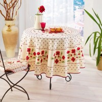 Nappe ronde Coquelicots Beige Rouge