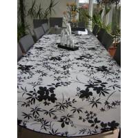 Nappe Ovale Floralie Blanc Noir