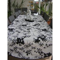 Nappe Rectangle Floralie Noir Blanc