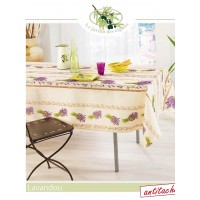 Nappe Rectangle Lavandou Ecru Parme