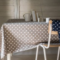 Nappe Rectangle Lollypop taupe a pois blanc