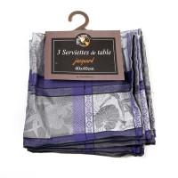 Lot de 3 serviettes Majorque Bleu Gris