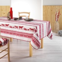 Nappe Rectangle Montagnard Rouge et Beige