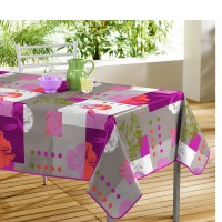 Nappe Toile Cirée Rectangle Oxalis Rose