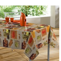 Nappe Toile Cirée Rectangle Safran Lin