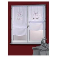 Paire de rideau blanc avec des lapins 130cm