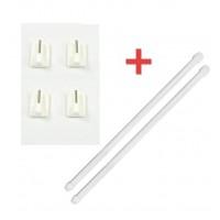 Ensemble 2 tringles Ronde extensible 50 à 80 cm + 4 crochets autocollants blanc