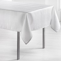 Nappe rectangle damassé Serpentile Blanc