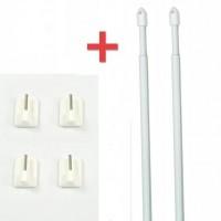 Ensemble 2 tringles Ronde extensible 60 à 80 cm + 4 crochets autocollants blanc