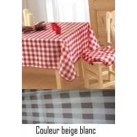 Nappe ovale Vichy beige